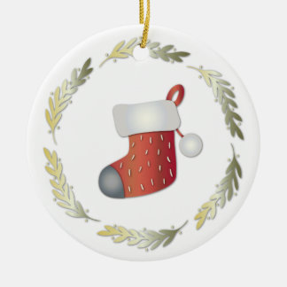 Pequeña guirnalda del navidad y almacenamiento adorno redondo de cerámica