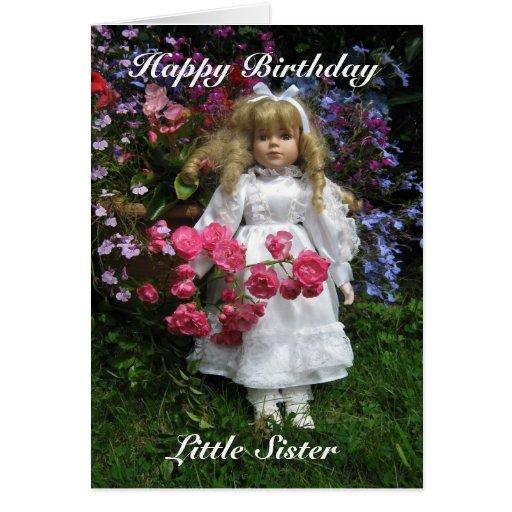 Pequeña hermana del feliz cumpleaños tarjetón