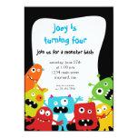 Pequeña invitación del cumpleaños de los monstruos invitación 12,7 x 17,8 cm