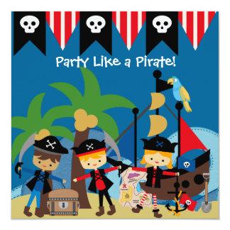 Pequeña invitación del cumpleaños de los piratas invitación 13,3 cm x 13,3cm