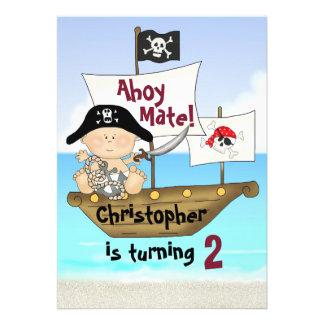 Pequeña invitación del pirata del cumpleaños de Bu