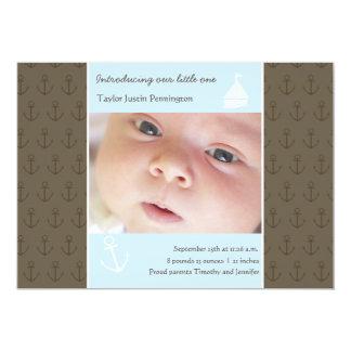 Pequeña invitación recién nacida de la foto del invitación 12,7 x 17,8 cm