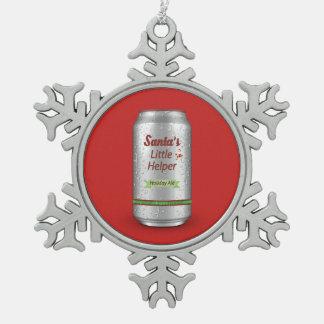 Pequeña lata de cerveza del ayudante de Santa Adorno De Peltre En Forma De Copo De Nieve