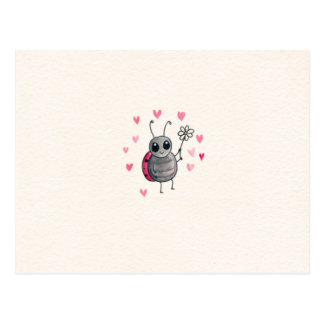 Pequeña mariquita o mariquita linda con la postal