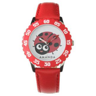 Pequeña mariquita roja linda personalizada reloj de pulsera