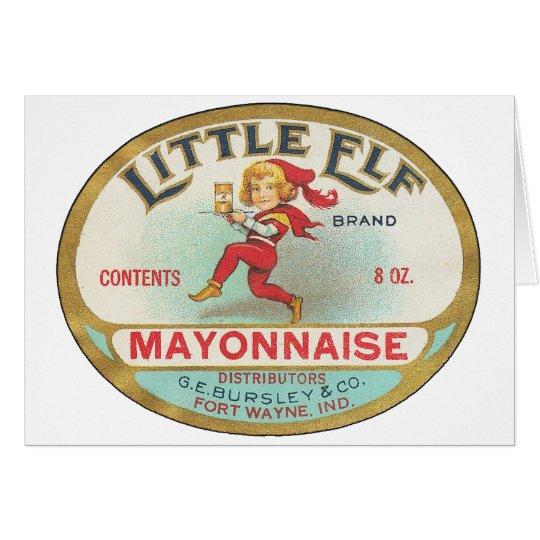 Pequeña mayonesa del duende - etiqueta del vintage tarjeta de felicitación