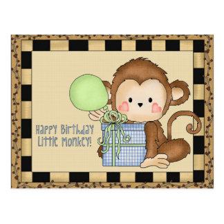 Pequeña postal del saludo del mono del feliz cumpl