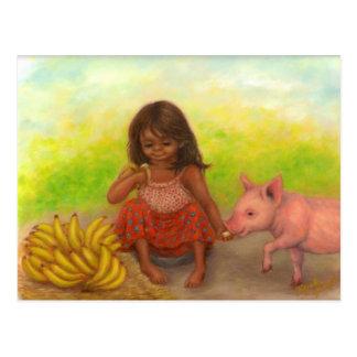Pequeña postal del vendedor del plátano