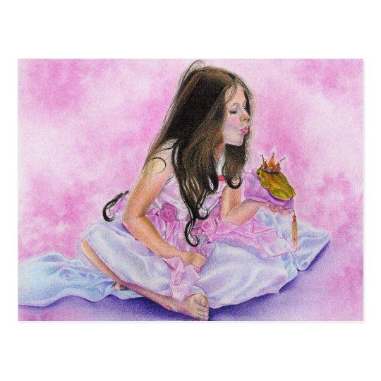 Pequeña princesa Kissing Frog Postcard Postal