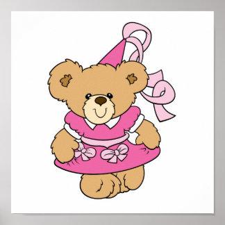 Pequeña princesa rosada linda Bear Póster