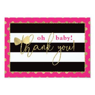 Pequeña señora Thank You Card, falso Glittler/hoja Invitación 8,9 X 12,7 Cm