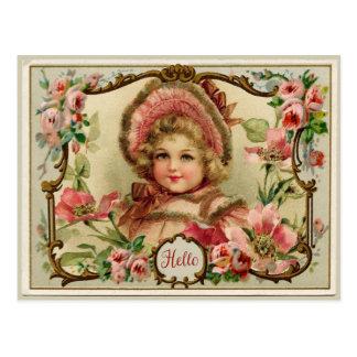 Pequeña señora Vintage Reproduction Postcard Postal