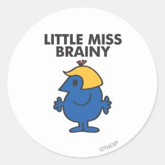 Pequeña Srta. Brainy Standing Still Pegatina Redonda
