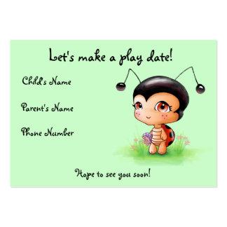 Pequeña tarjeta de fecha del juego del chica de la tarjetas de visita grandes