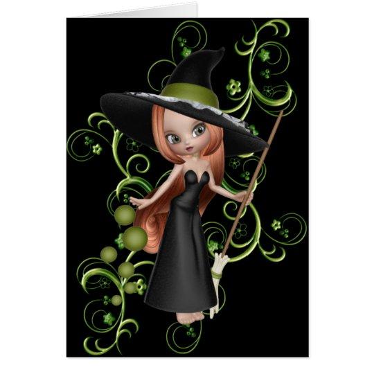 Pequeña tarjeta de felicitación linda de la bruja