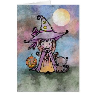 Pequeña tarjeta de Halloween de la bruja y del