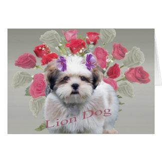 Pequeña tarjeta de los rosas de perro del león de