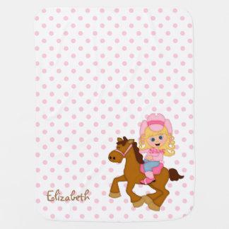 Pequeña vaquera personalizada mantita para bebé