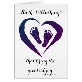 Pequeñas cosas (bebé) tarjeta de felicitación