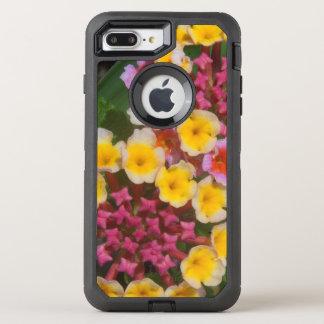 Pequeñas flores tropicales amarillas con los funda OtterBox defender para iPhone 7 plus