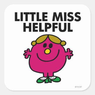 Pequeñas letras negras de Srta. Helpful el | Pegatina Cuadrada