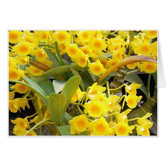 Pequeñas orquídeas amarillas tarjeta de felicitación