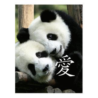 Pequeñas pandas gigantes cariñosas chinas postal