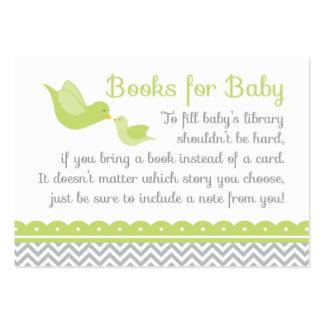 Pequeñas tarjetas verdes de la petición del libro tarjetas de visita grandes