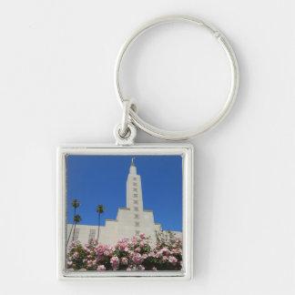 """Pequeño (1,38"""") templo cuadrado superior del LA Llavero Cuadrado Plateado"""