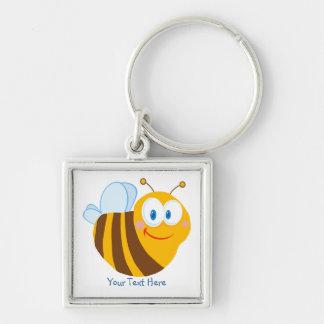 Pequeño abejorro (personalizado) llavero cuadrado plateado
