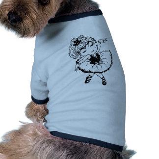 Pequeño baile lindo de la bailarina en un tutú camiseta con mangas para perro