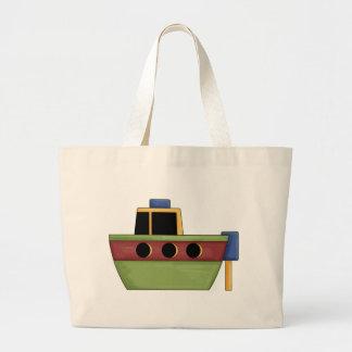 Pequeño barco lindo del tirón bolsa tela grande
