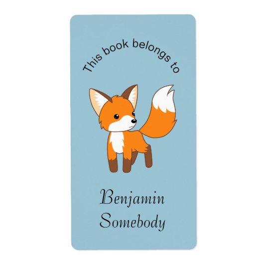 Pequeño Bookplate lindo del Fox Etiqueta De Envío