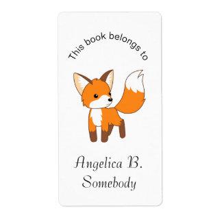 Pequeño Bookplate lindo del Fox Etiquetas De Envío