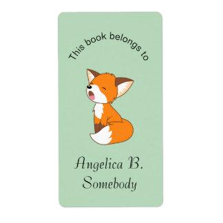 Pequeño Bookplate soñoliento lindo del Fox Etiqueta De Envío