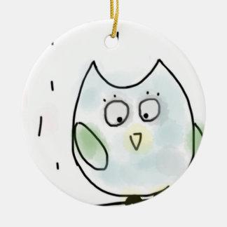 Pequeño búho azul lindo adorno navideño redondo de cerámica