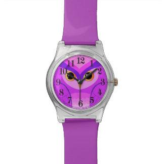 Pequeño búho violeta reloj de mano