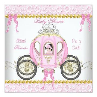 Pequeño carro 2 del rosa del chica de la princesa invitación 13,3 cm x 13,3cm