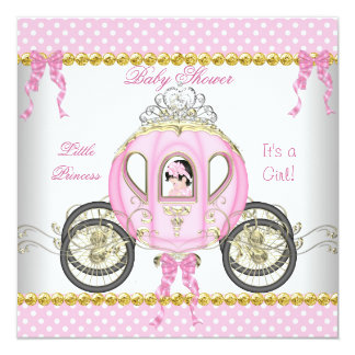 Pequeño carro del rosa del chica de la princesa invitación 13,3 cm x 13,3cm