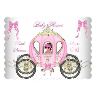 Pequeño carro del rosa del chica de la princesa invitación 12,7 x 17,8 cm