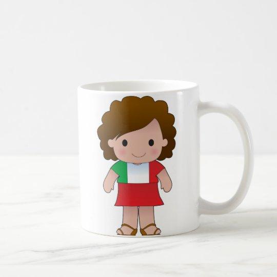 Pequeño chica italiano taza de café