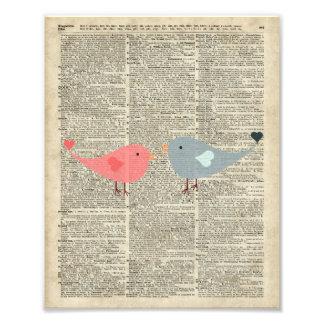 Pequeño collage del amor de los pájaros en la arte con fotos