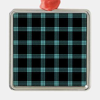 Pequeño cuadrado de cuatro bandas - azul eléctrico adorno cuadrado plateado