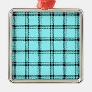 Pequeño cuadrado de cuatro bandas - negro en azul ornaments para arbol de navidad