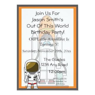 Pequeño cumpleaños del astronauta y de la nave invitación 12,7 x 17,8 cm