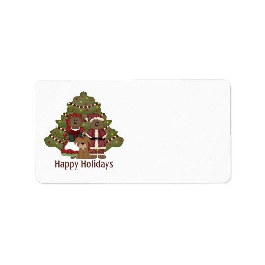 Pequeño día de fiesta adorable del navidad del etiqueta de dirección