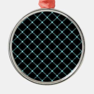 Pequeño diamante de dos bandas - azul eléctrico en adorno redondo plateado