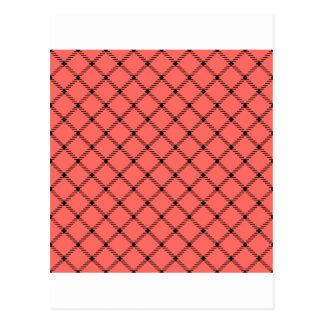Pequeño diamante de dos bandas - negro en rojo en postal