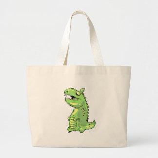 pequeño dibujo animado del dinosaurio verde bolsa de tela grande