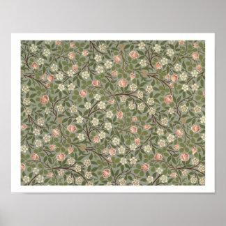 Pequeño diseño del papel pintado de la flor rosada poster